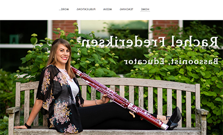 Screen shots of the home pages of Bell Coty, standing behind her harp和 Rachel Frederiksen, seated on a bench with her bassoon.