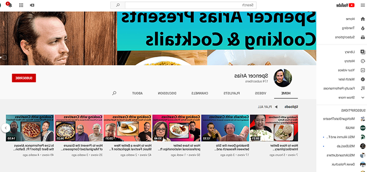 A screen shot of the YouTube的 page of Spencer Arias. A photo of him is in the upper right corner with tabs to all his videos across the screen.